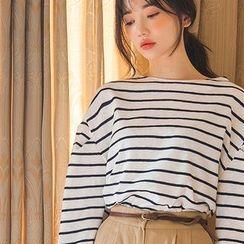 chuu - Drop-Shoulder Stripe T-Shirt