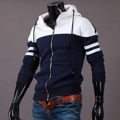 Seoul Homme - Color-Block Zip-Up Hoodie