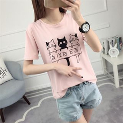 Ukiyo - Cat Print Short Sleeve T-Shirt