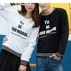 Bay Go Mall - Couple Matching Lettering Pullover