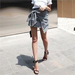 LIPHOP - Wrap-Front Check Miniskirt