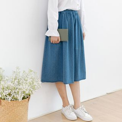 Forest Girl - A-Line Midi Denim Skirt