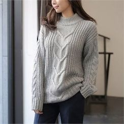 CHICLINE - Mock-Neck Cable-Knit Sweater