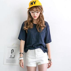 JUSTONE - Pocket-Front Loose-Fit T-Shirt