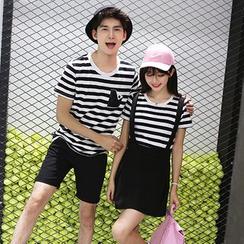 We Belong - Couple Matching Set: Stripe Short-Sleeve T-Shirt + Shorts / Suspender Skirt