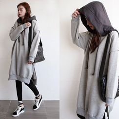 NIPONJJUYA - Contrast-Hood Brushed-Fleece Lined Pullover Dress
