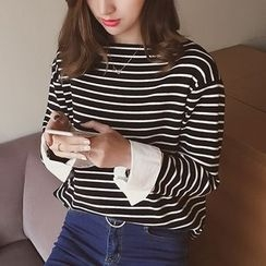 Cocofield - Striped Boat Neck Knit Top