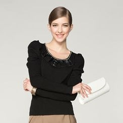 O.SA - Jeweled-Neckline Knit Top