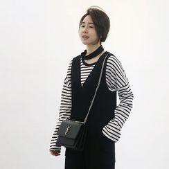 NANING9 - Drop-Shoulder Striped T-Shirt