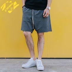 YIDESIMPLE - Zipper-Pocket Drawstring Shorts