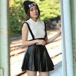 Mini Jule - Faux-Leather Suspender A-Line Skirt