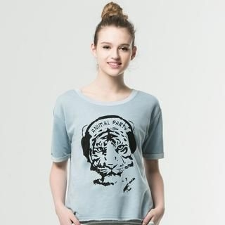 Life 8 - Tiger-Print Cropped T-Shirt