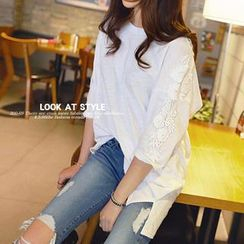 REDOPIN - Lace-Trim 3/4-Sleeve Top