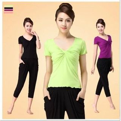 AUM - Yoga Set: Short-Sleeve V-Neck Top + Pants