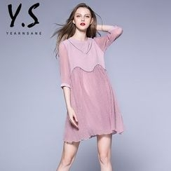 Y:Q - Elbow-Sleeve A-line Dress