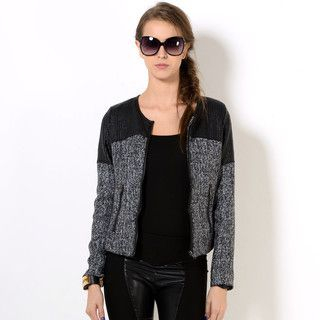 YesStyle Z - Collarless Faux Leather Panel Zip Jacket