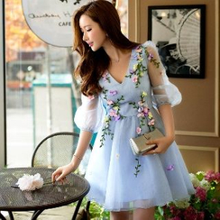 Dabuwawa - Tulle-Sleeve Applique Party Dress