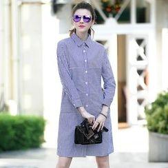 洛圖 - 條紋翻領連衣裙