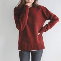 JUSTONE - Crew-Neck Wool Blend Knit Top