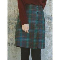 LOLOten - Button-Down Wool Blend Plaid Mini Skirt
