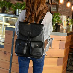 Seok - Belted Faux Leather Backpack