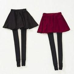 Ando Store - Inset Shirred Skirt Fleece-Lined Leggings