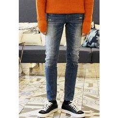 HOTBOOM - Washed Brushed-Fleece Lined Straight-Cut Jeans