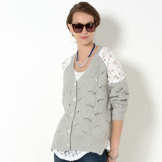 YesStyle Z - Lace Yoke Open-Knit Cardigan