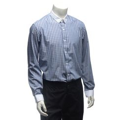 YesStyle M - 配色领格纹衬衫