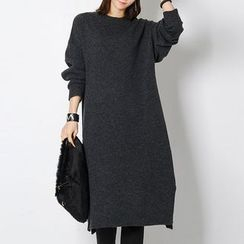 FASHION DIVA - Mélange Wool Blend Midi Knit Dress