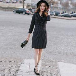 Lovi - Pinstriped Ruffle Sheath Dress