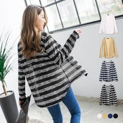 OrangeBear - Bold Striped Sheer Knit Cardigan