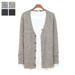 DANGOON - V-Neck Button-Down Mélange Cardigan