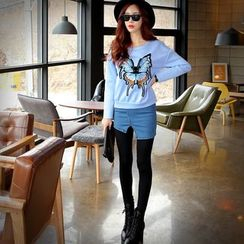 Dabuwawa - Inset Denim Miniskirt Leggings