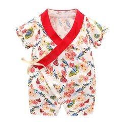 Madou - Baby Contrast-Trim Printed Bodysuit