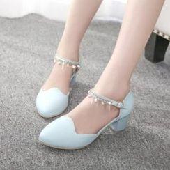 Tomma - Rhinestone Low Block Heel Sandals