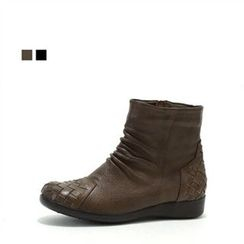MODELSIS - Genuine Leather Woven-Detail Boots