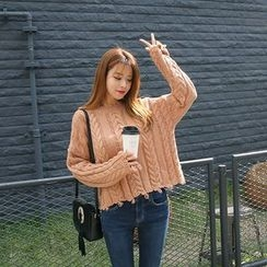 DABAGIRL - Fray-Edge Cable-Knit Sweater