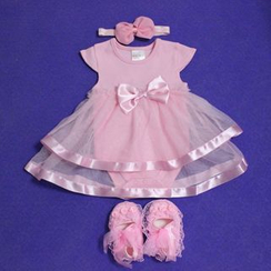 Debii - Kids Set of 3: Paneled Bow-Accent Dress + Head Band + Shoes