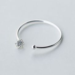 A'ROCH - 925 Sterling Silver Rhinestone Open Bangle