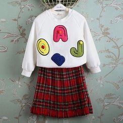 Kidora - 儿童套装: 字母套头衫 + 格纹百褶短裙