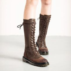 MIAOLV - Lace Up Mid-calf Boots