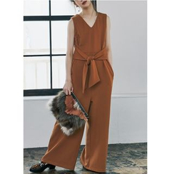Pluvio - Plain V-Neck Wide Leg Jumpsuit