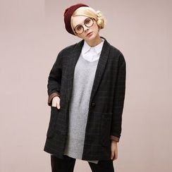 Qiuke - Plaid Buttoned Coat