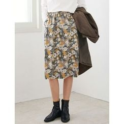 FROMBEGINNING - Floral Pattern Midi Skirt