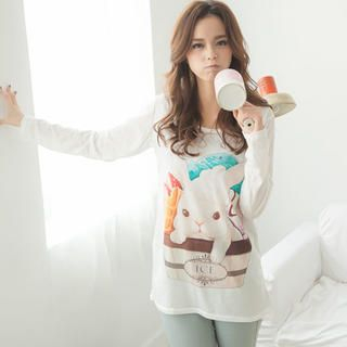 Lucky Leaf - Long-Sleeve Rabbit-Print T-Shirt