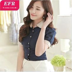 Eferu - Two-Tone Short-Sleeve Shirt