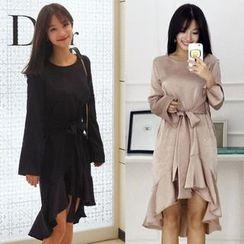 Seoul Fashion - Tie-Waist Ruffle-Hem Satin Sheath Dress