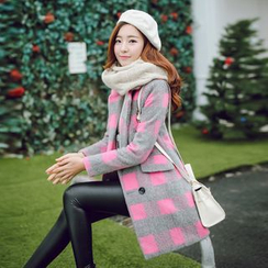 Romantica - Double-Breasted Plaid Coat