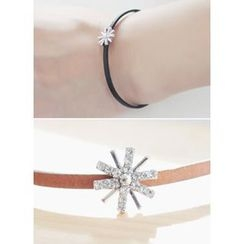 kitsch island - Rhinestone Faux-Leather Bracelet